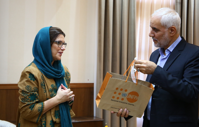 Dr. Leila Joudane, UNFPA Representative, H.E. Dr. Mohsen Mehralizadeh, Governor General of Isfahan